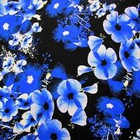 Midnight Flower Blues Crepe de Chine