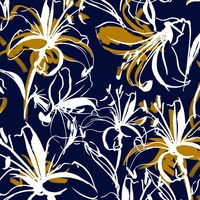 Lilies Monaco Blue with Gold